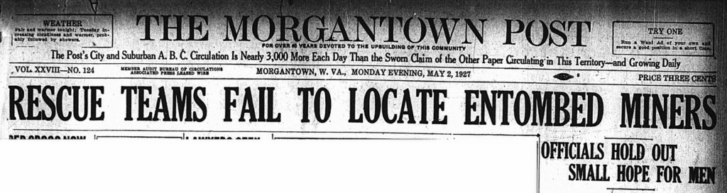 May 2, 1927 headline: Rescue Teams Fail To Locate Entombed Miners