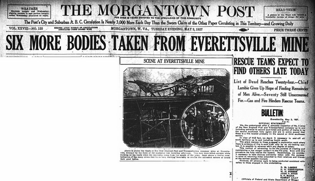 May 3, 1927 headline: Six More Bodies Taken From Everettsville Mine