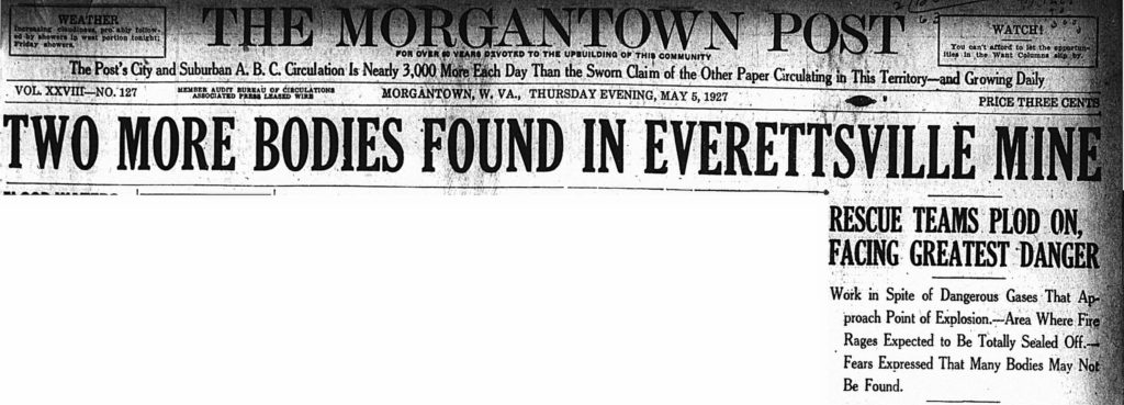 May 5, 1927 headline: Two More Bodies Found in Everettsville Mine
