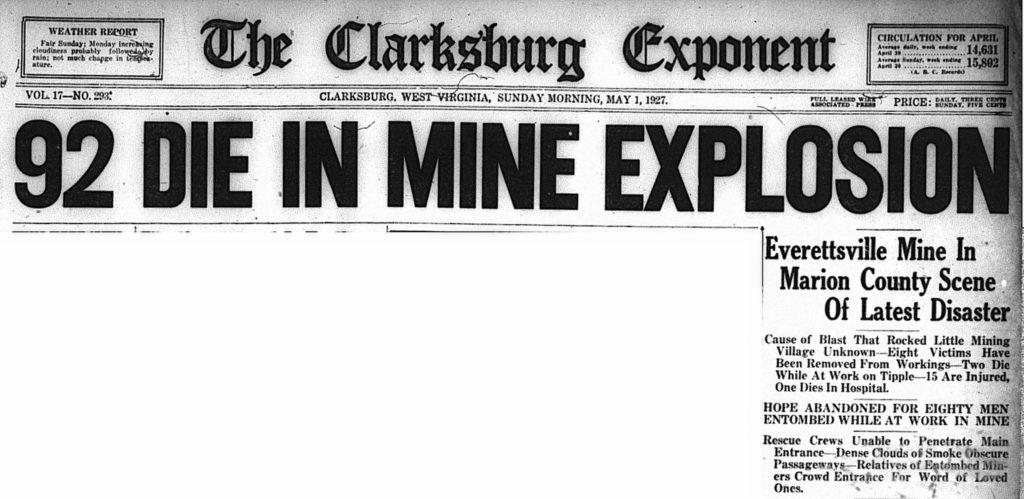 May 1, 1927 headline: 92 Die in Mine Explosion