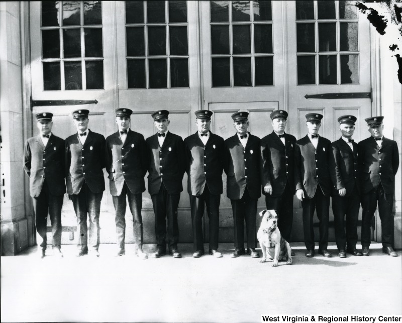 Morgantown Fire Department outdoor group photo including bulldog Doc