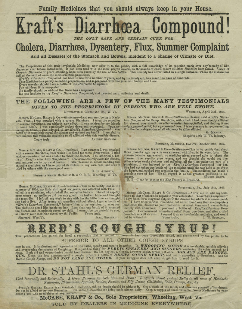 Broadside advertising Kraft's Diarrhoea Compound and two other medicines