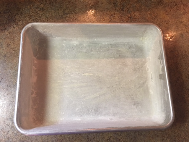Greased baking dish