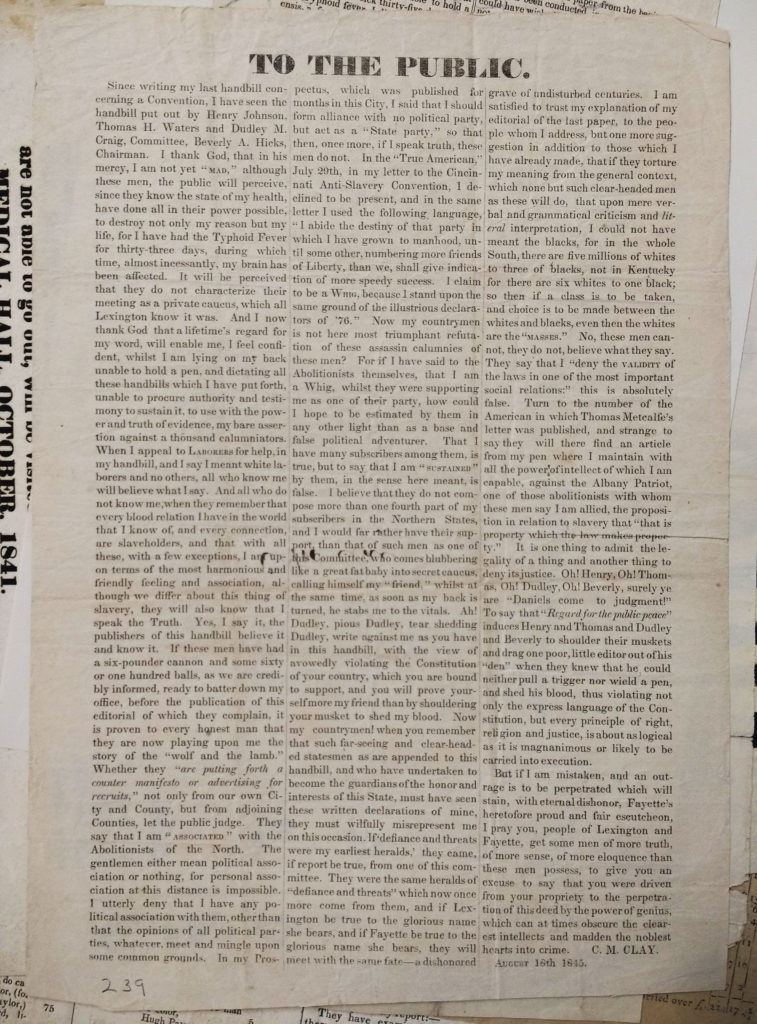 "Handbill titled ""To the Public"" by C.M. Clay, August 16th, 1845"