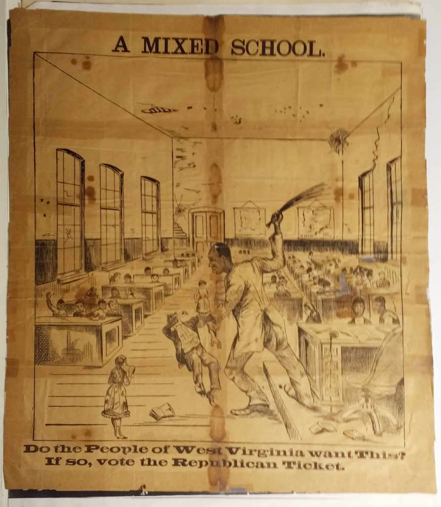 Broadside depicting a black man in a schoolhouse beating a white child, campaigning against integration in schools.