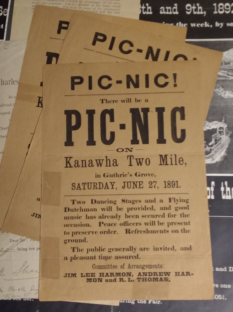 Handbill advertising a Picnic on Kanawha Two Mile in 1891