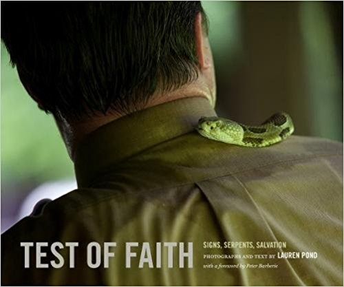 Cover of book Test of Faith, showing a snake on a man's shoulder