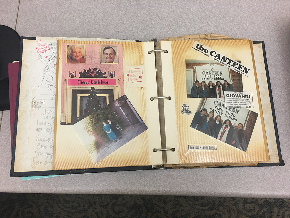 Pages in an album, showing photos and clippings