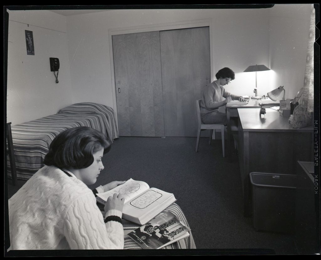 Two female students in a dormitory room at WVU, 1966