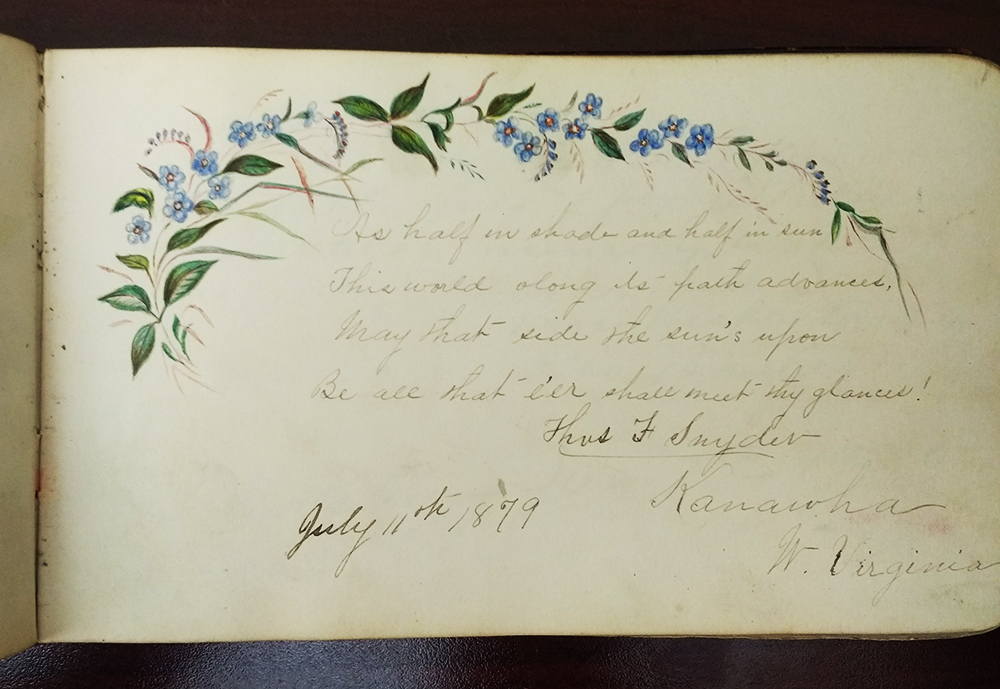 Page from an autograph book, with drawing of blue flowers on a vine with green leaves, a poem, and a signature