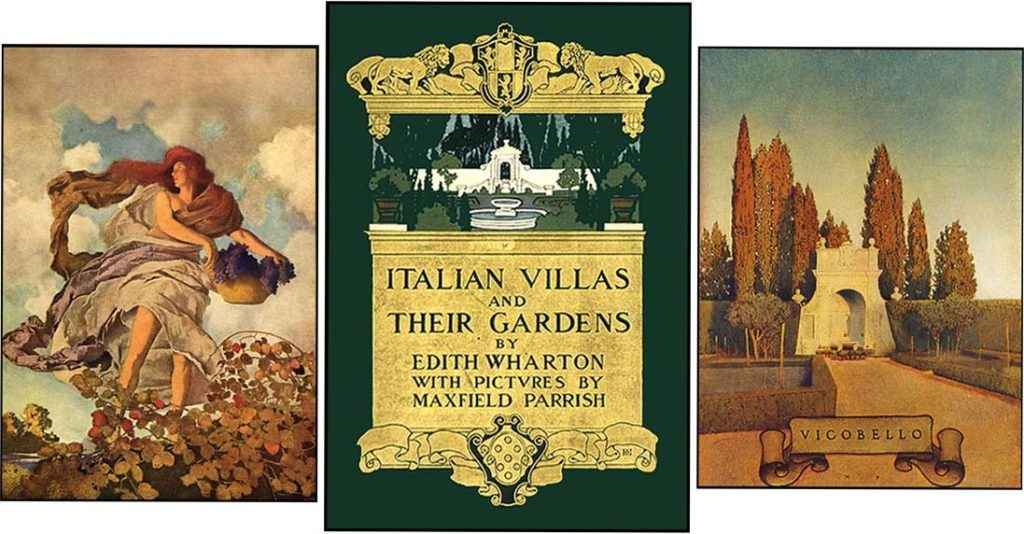 "Cover of book ""Italian Villas and their Gardens"" including gold details and an image of a garden with fountain, flanked by an image of a woman with a basket of grapes on the left and a garden with trees and a building on the right"