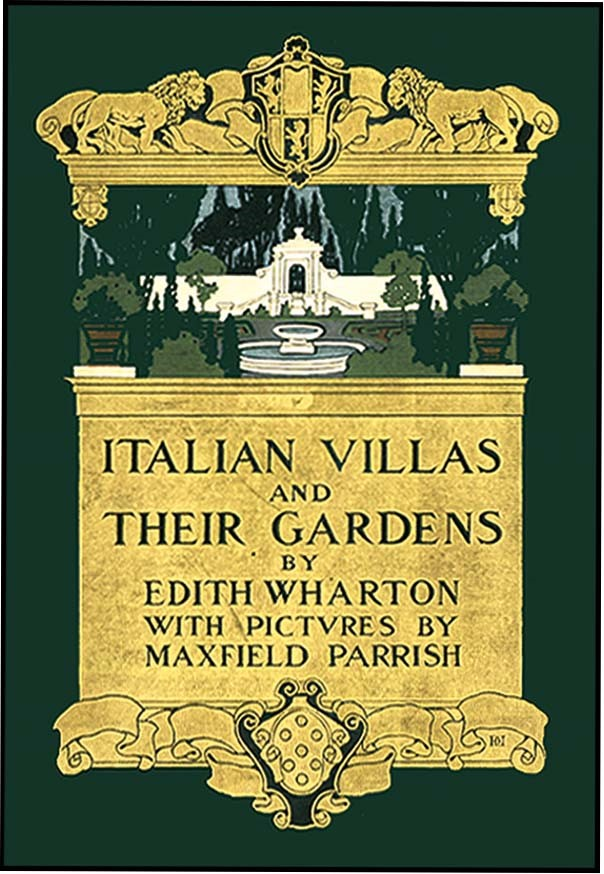 "Cover of book ""Italian Villas and their Gardens"" including gold details and an image of a garden with fountain"