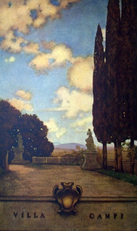 Painting of Villa Campi, showing trees and statues