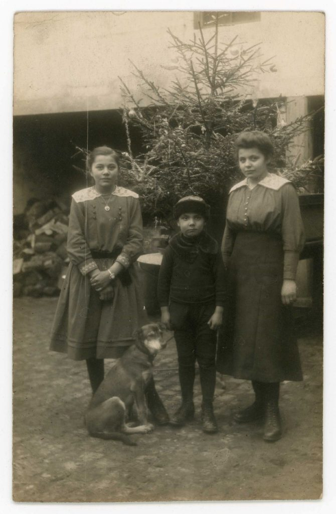 Group portrait of three children and dog in front of Christmas tree