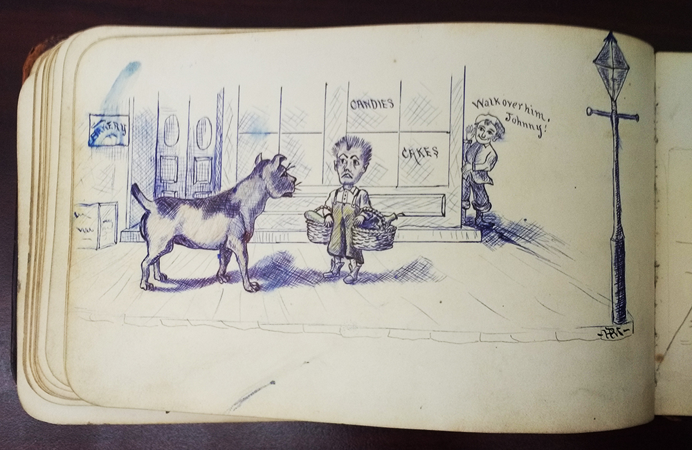 "Page from an autograph book, with drawing of a boy facing a big dog, and another boy saying ""Walk over him, Johnny!"""