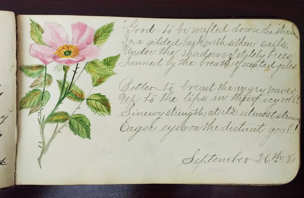 Page from an autograph book, with drawing of pink flower with green leaves, and a poem