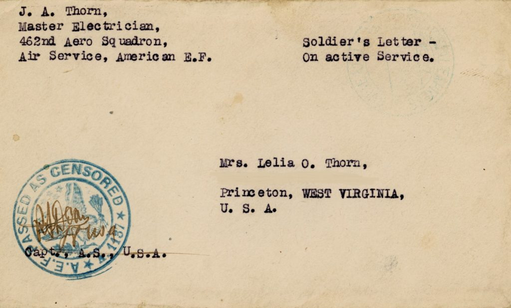 Envelope from J.A. Thorn of the 462 Aero Squadron to Mrs. Lelia O. Thorn, bearing censorship stamp