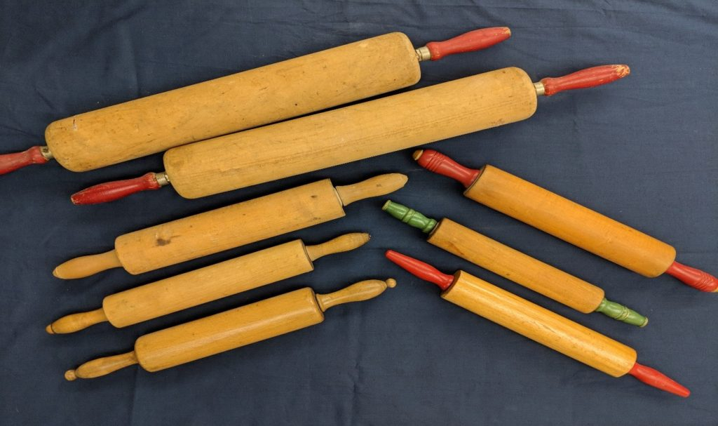 Eight traditional rolling pins