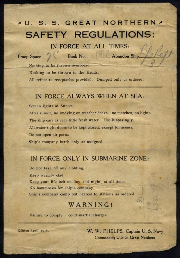 Safety Regulations Notice document from the USS Great Northern
