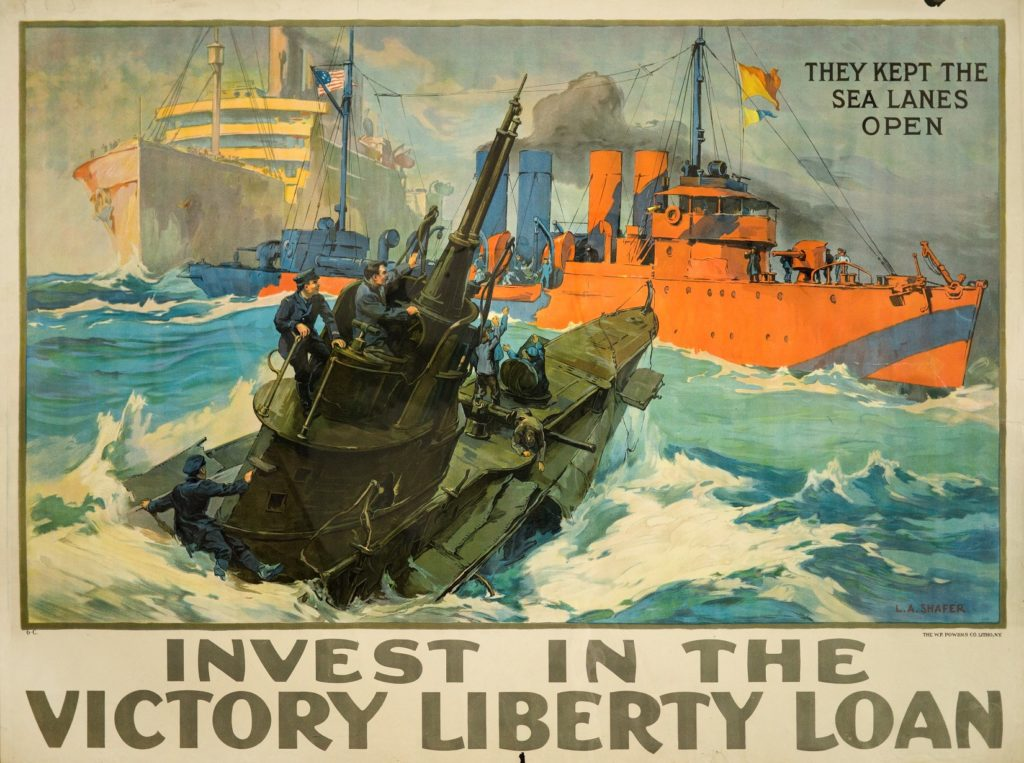 Poster depicting submarine and ships, encouraging investment in Victory Liberty Loans
