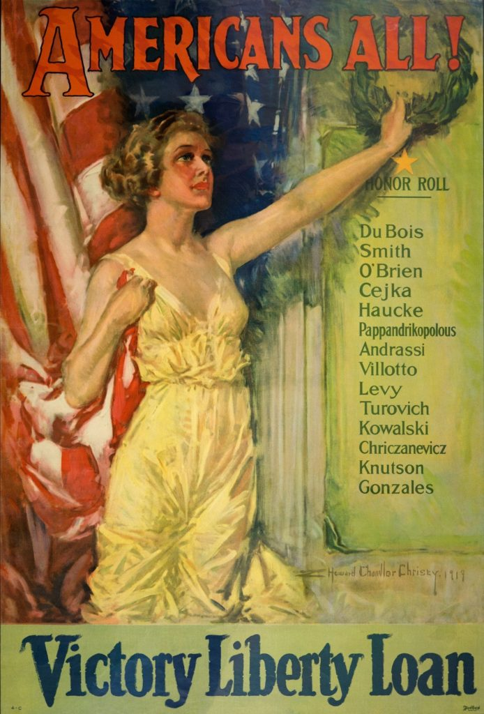 "Poster depicting a woman in front of a flag, ""Americans All! Victory Liberty Loan"""