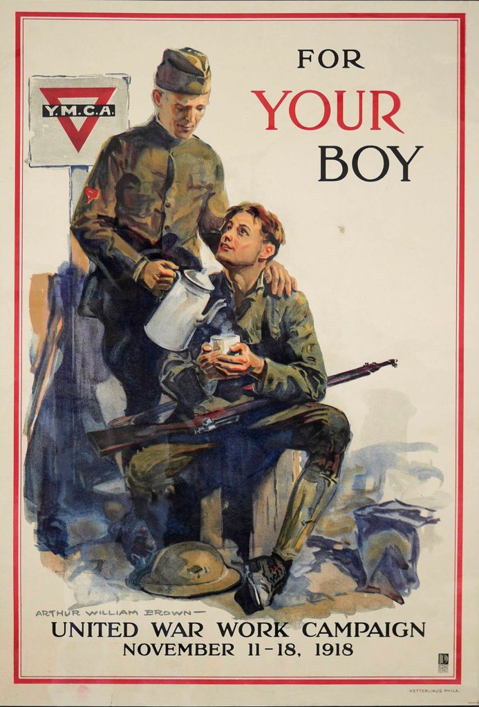 "Poster for United War Work Campaign ""For Your Boy"" depicting an older man giving a soldier a hot drink"