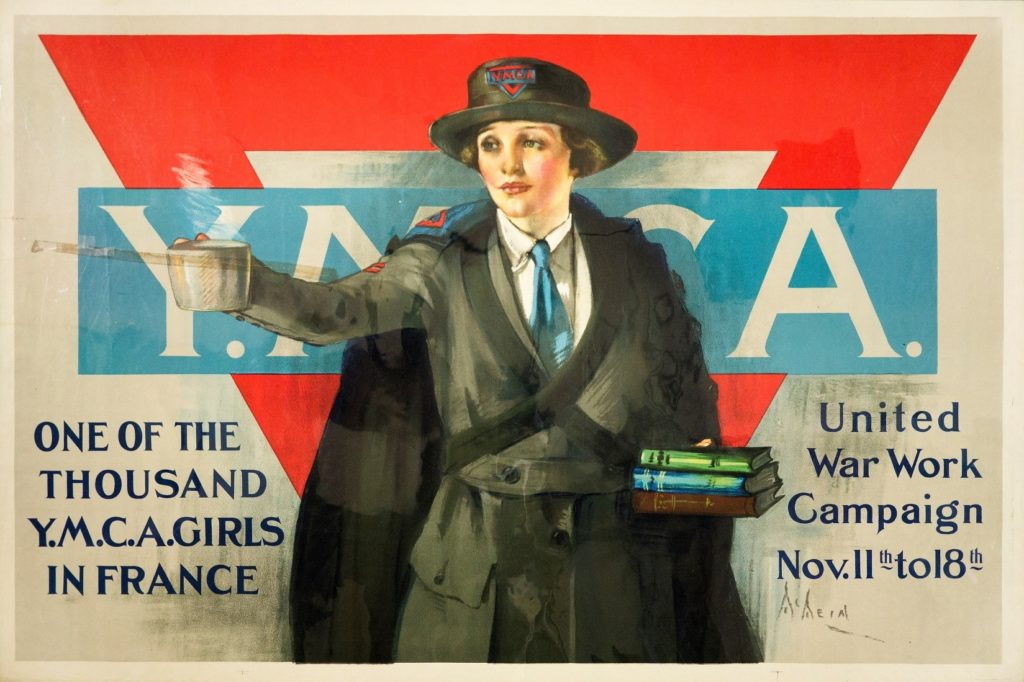 "Poster for United War Work Campaign ""One of the Thousand Y.M.C.A. Girls in France"" depicting a young woman holding coffee and books"
