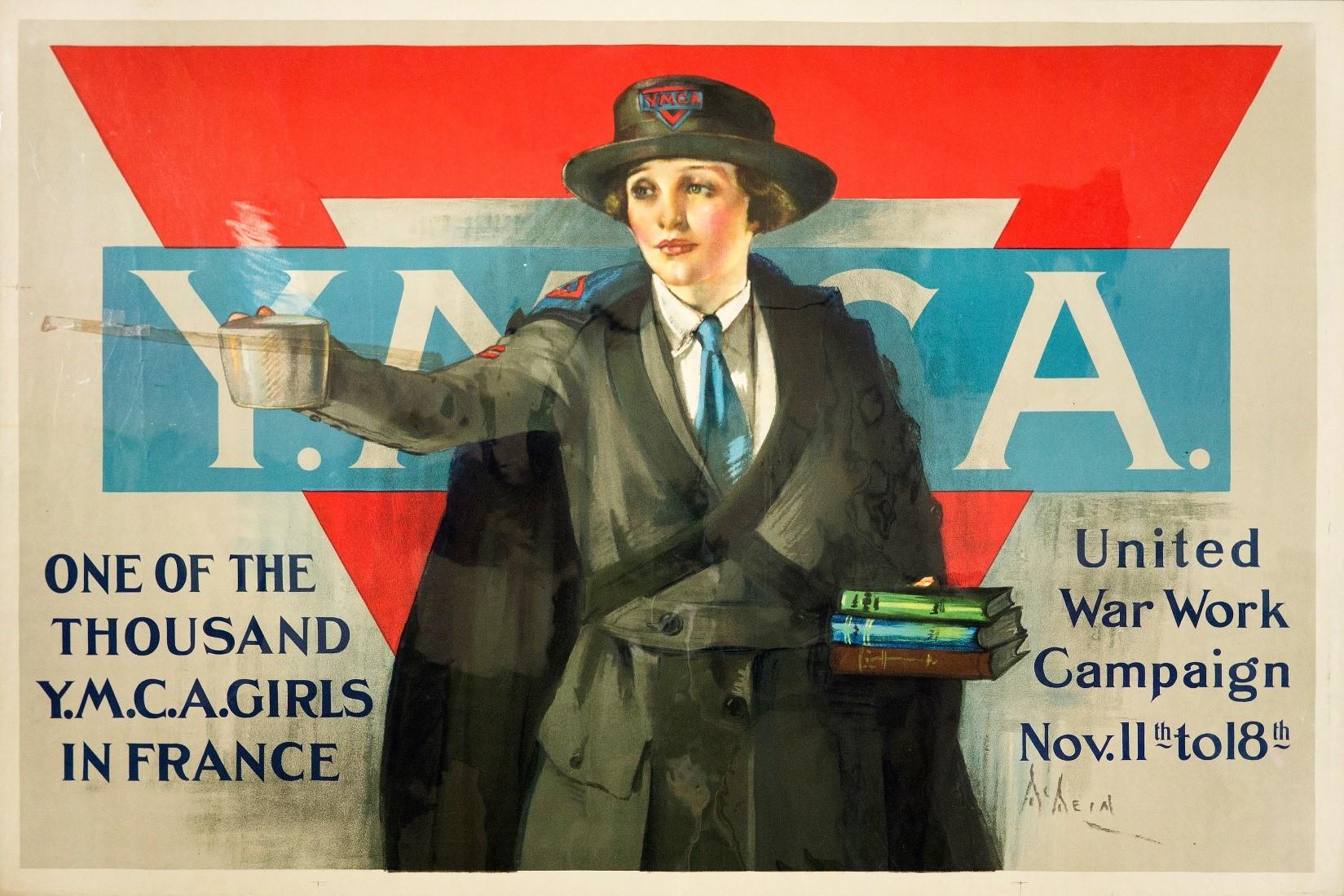 World War I American Propaganda Poster WWI US Military Print YMCA YWCA WW1