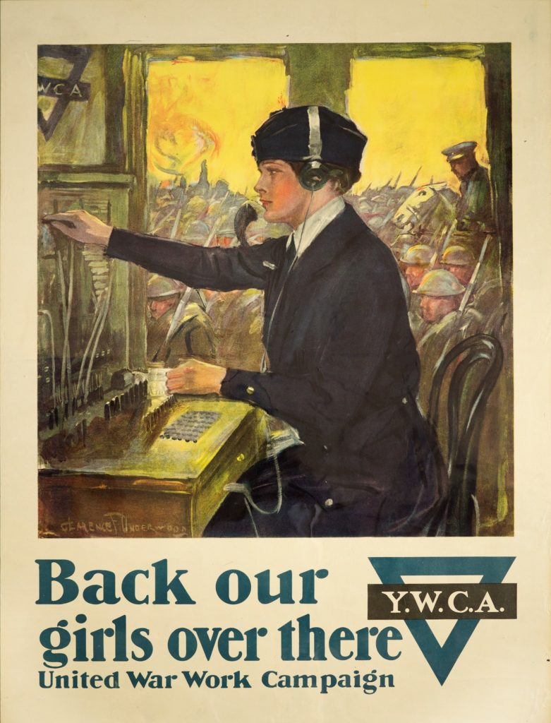 "Poster for United War Work Campaign ""Back Our Girls Over There"" depicting a uniformed woman operating a switchboard, with soldiers outside the window"