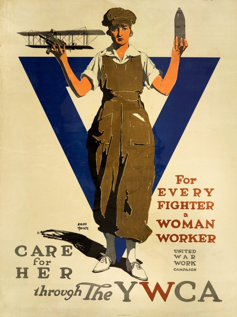 "Poster for United War Work Campaign ""For Every Fighter a Woman Worker"" depicting a woman in overalls, holding a biplane in one hand and what might be a canister or ordnance in the other"