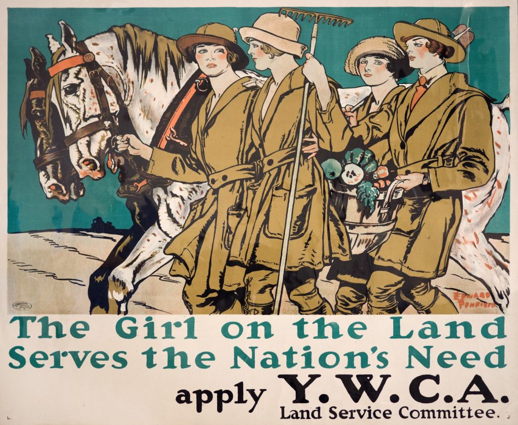 "Poster for Woman's Land Army of America ""The Girl on the Land Serves the Nation's Need"" depicting women in work clothes leading horses, carrying rakes and hoes, and carrying a bushel of vegetables"