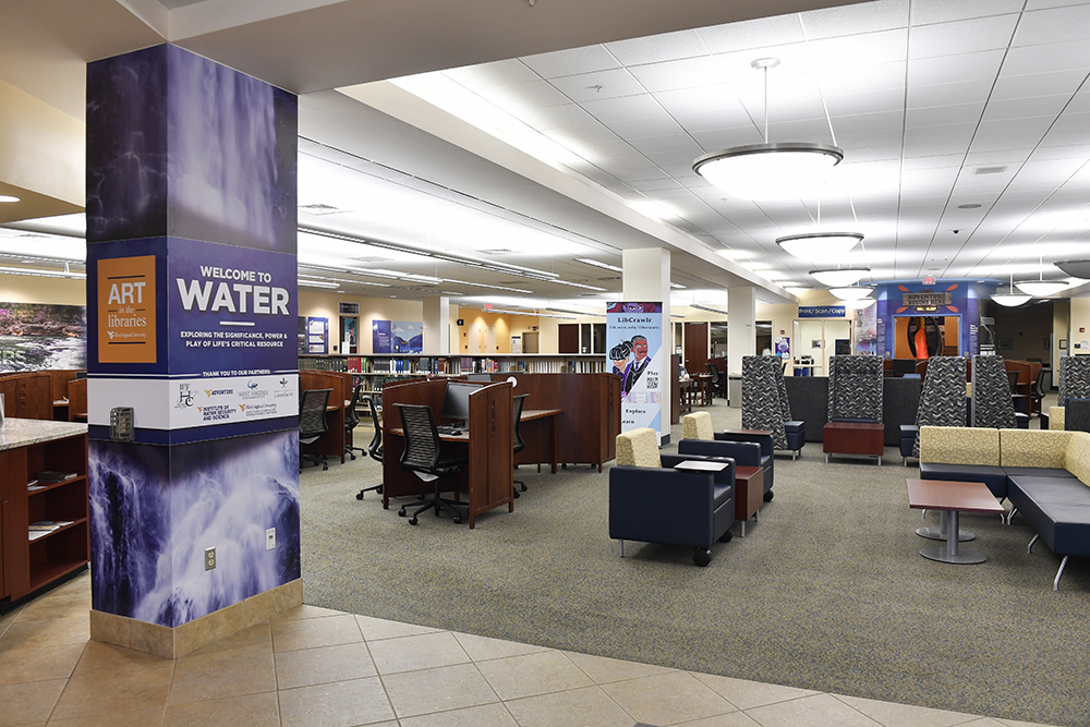 Water exhibit in Downtown Campus LIbrary