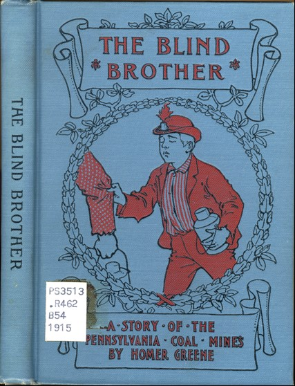 "Decorated book cover of ""The Blind Brother"" showing a young boy clutching someone's sleeve"