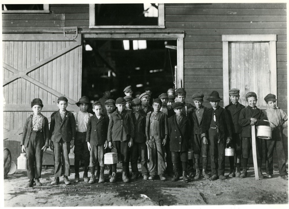 Group portrait of boys going home from Monongah Glass Works