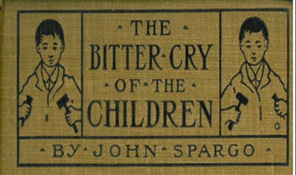 "Part of book cover of ""The Bitter Cry of the Children"" showing two children with tools in their hands"