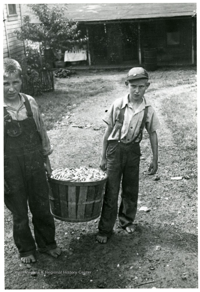 Two boys carrying bushel of beans outside