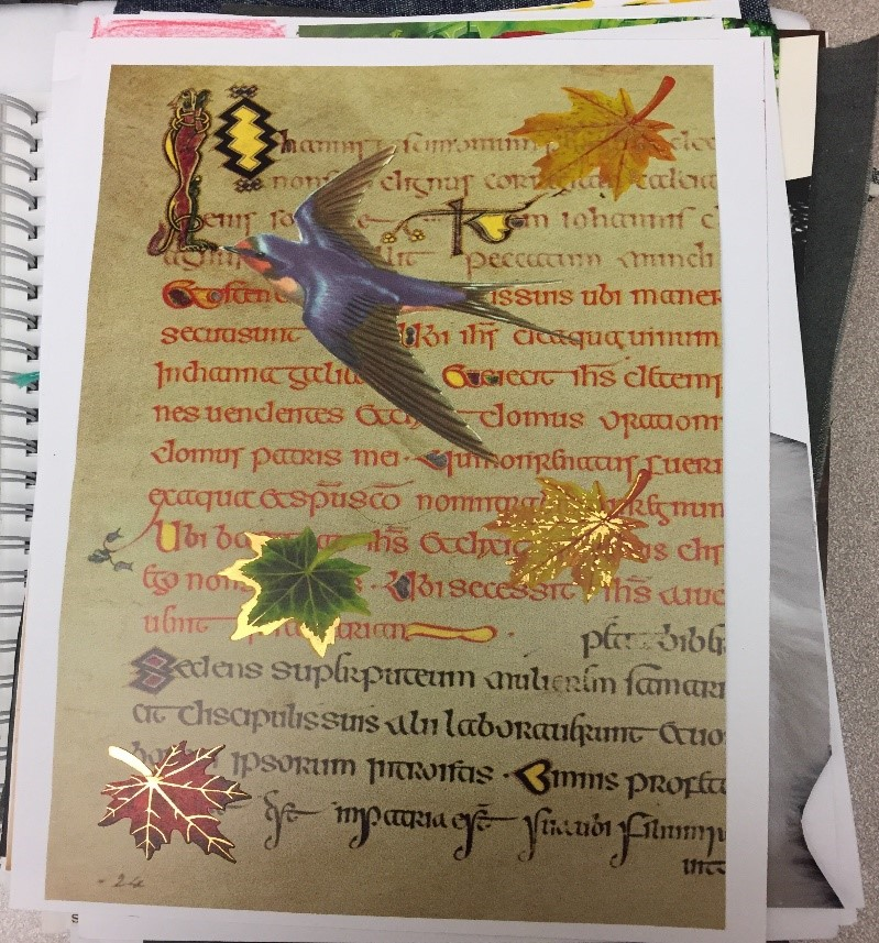 Zine page showing bird, text in a fancy font, and leaves