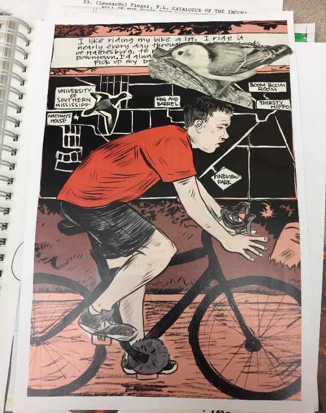 Zine page showing man on bicycle