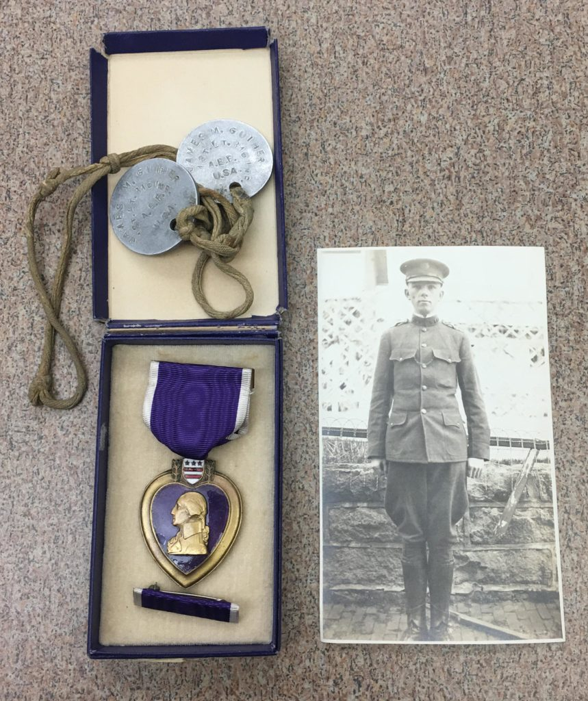 Photograph, Purple Heart, and Tags belonging to James Guiher Sr., ca. 1918