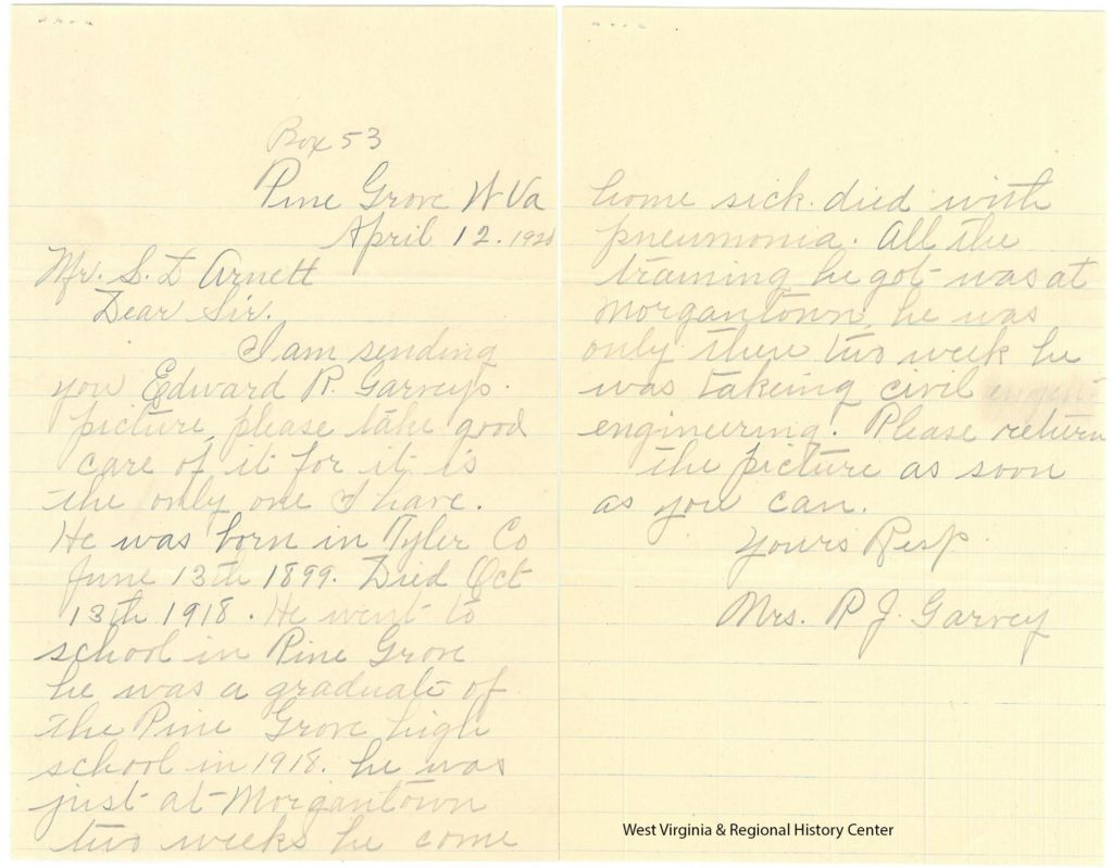 Two pages of handwritten letter about a memorial for Edward Garvey