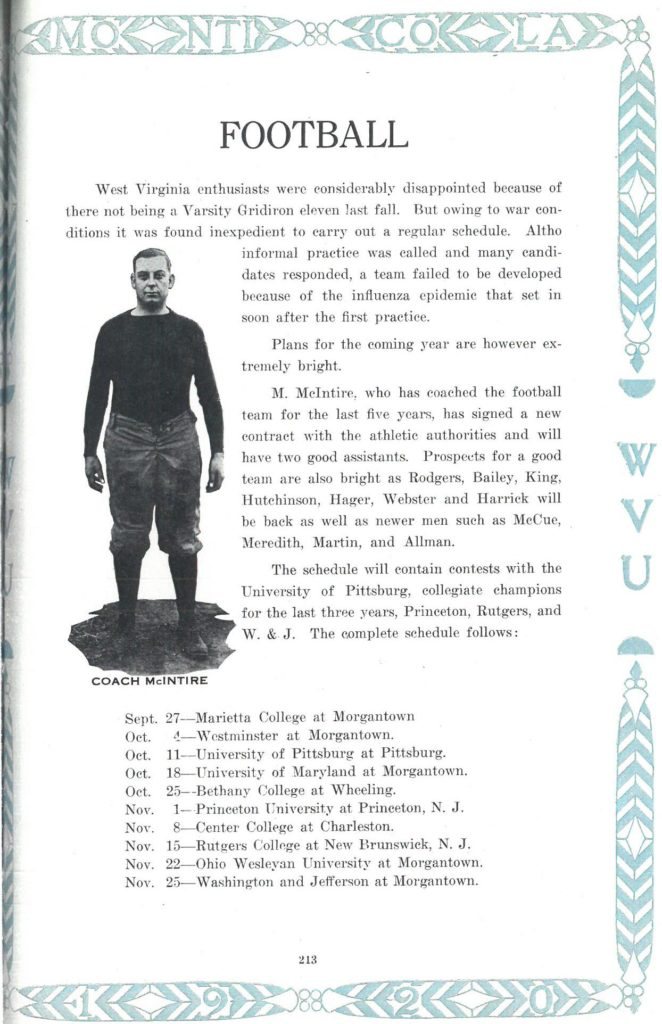 Football page from Monticola yearbook, showing player and text about WVU football program 1920