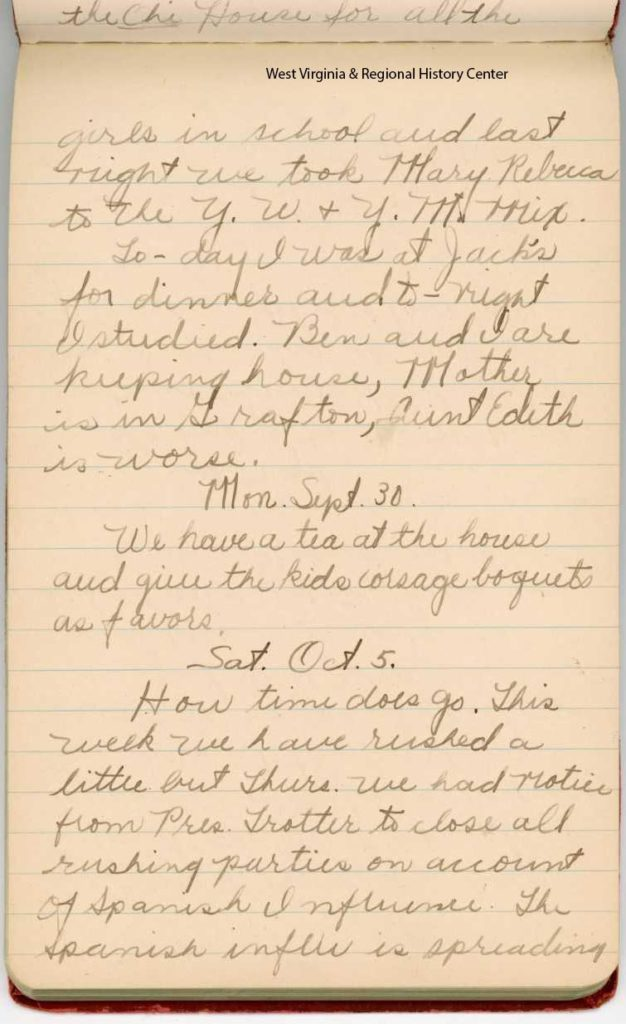 Page of diary entries of Lucy Shuttlesworth, starts Oct. 5 entry