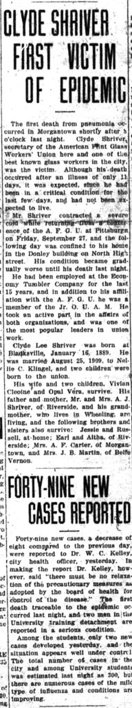 "Clipping from newspaper with headlines ""Clyde Shriver First Victim of Epidemic"" and ""Forty-Nine New Cases Reported"" Morgantown New Dominion, October 9, 1918"