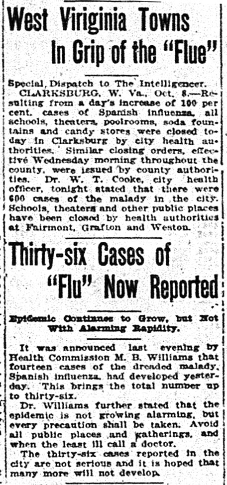 "Newspaper clipping with headlines ""West Virginia Towns in Grip of the 'Flue'"" and ""Thirty-six cases of 'Flu' Now Reported,"" Wheeling Intelligencer, October 9, 1918"