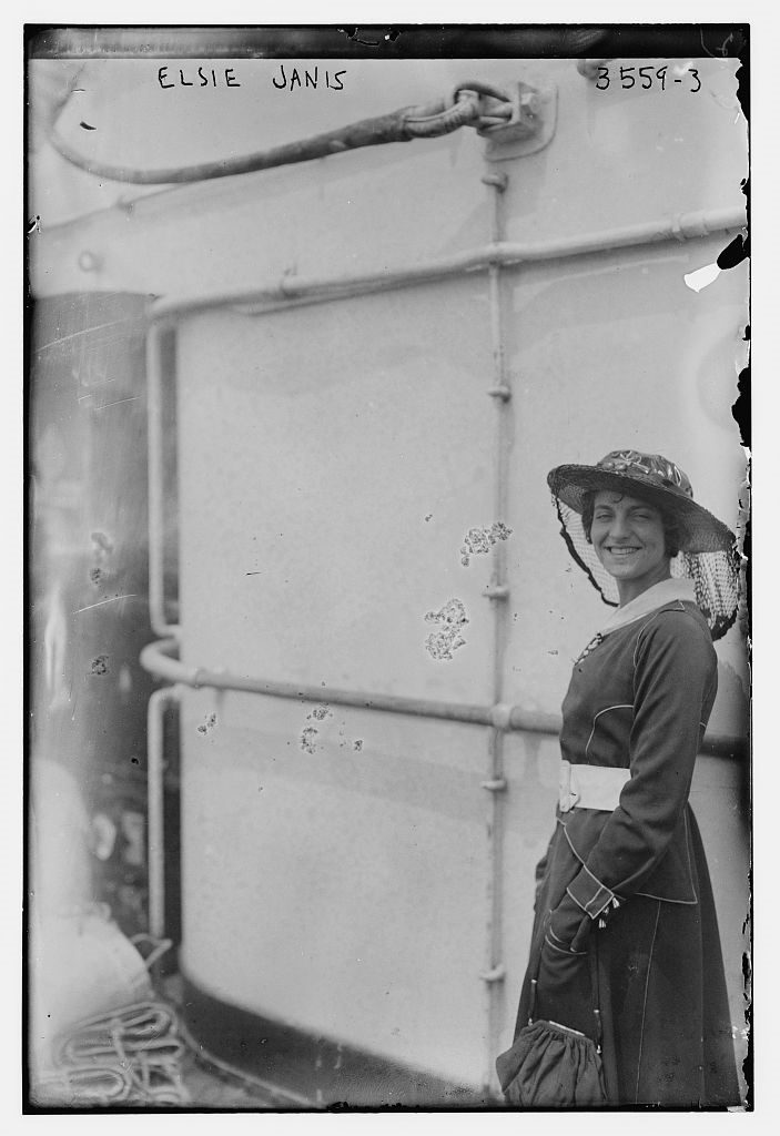 Photo of Elsie Janis on the deck of an ocean liner