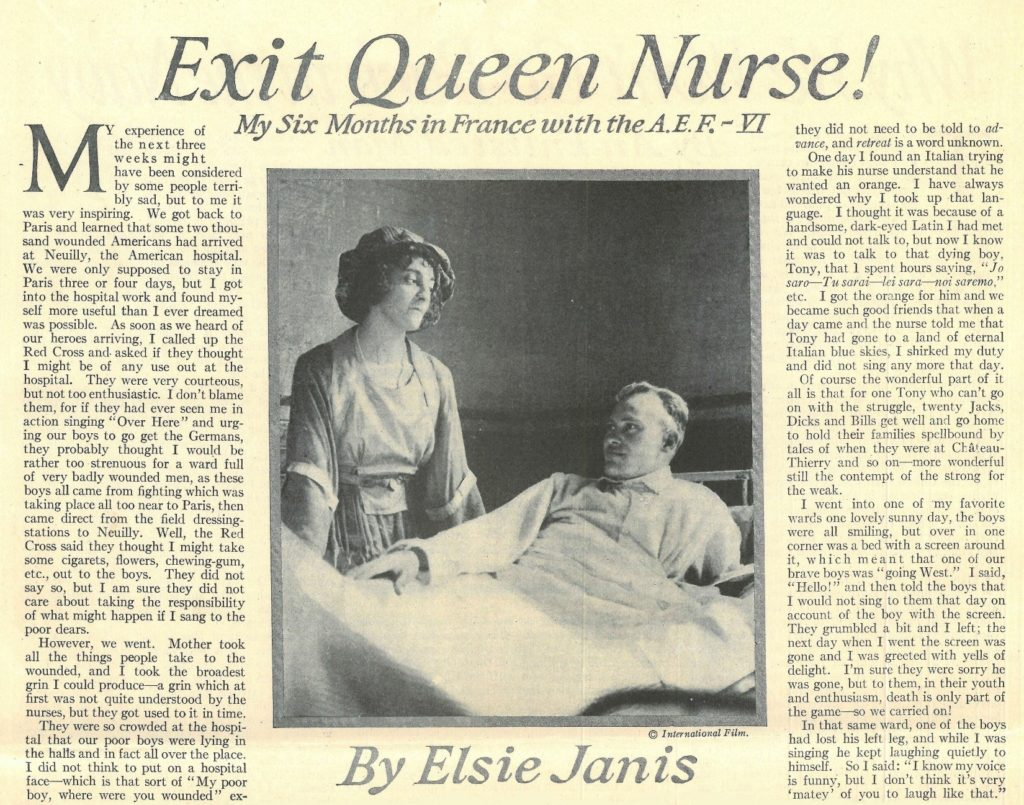 "Clipping of ""Exit Queen Nurse!"" by Elsie Janis"