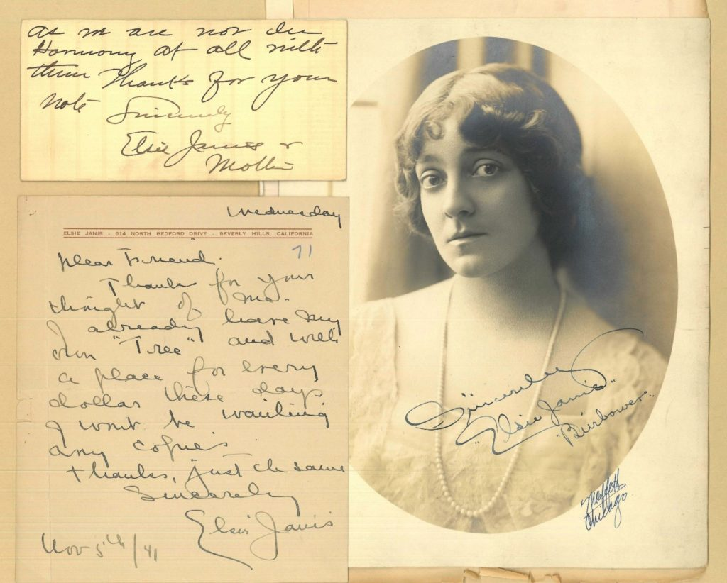 Notes by Elsie Janis and portrait photo of her