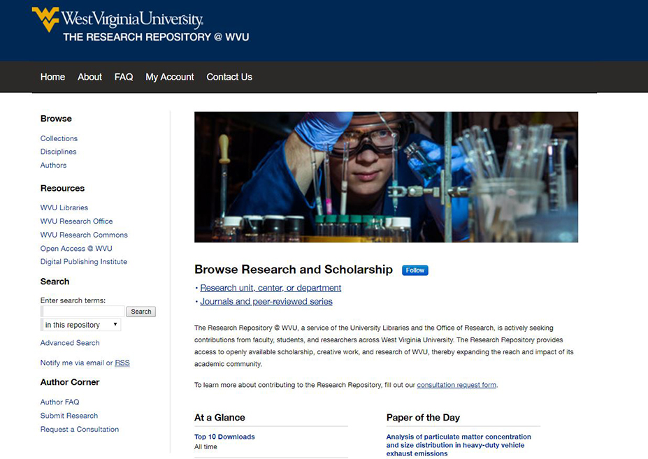 screenshot of research repository website