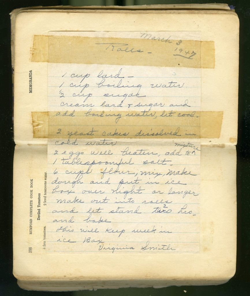 Recipe for rolls taped into cookbook