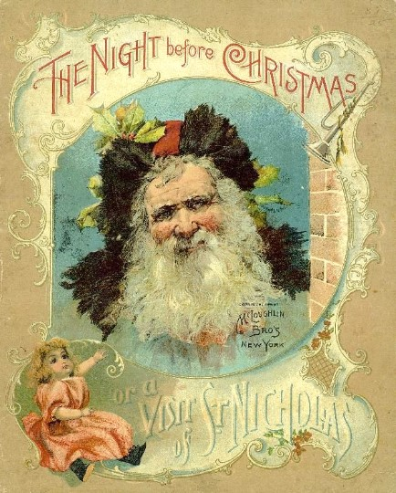 Book cover of The Night Before Christmas, Showing Santa Claus' face